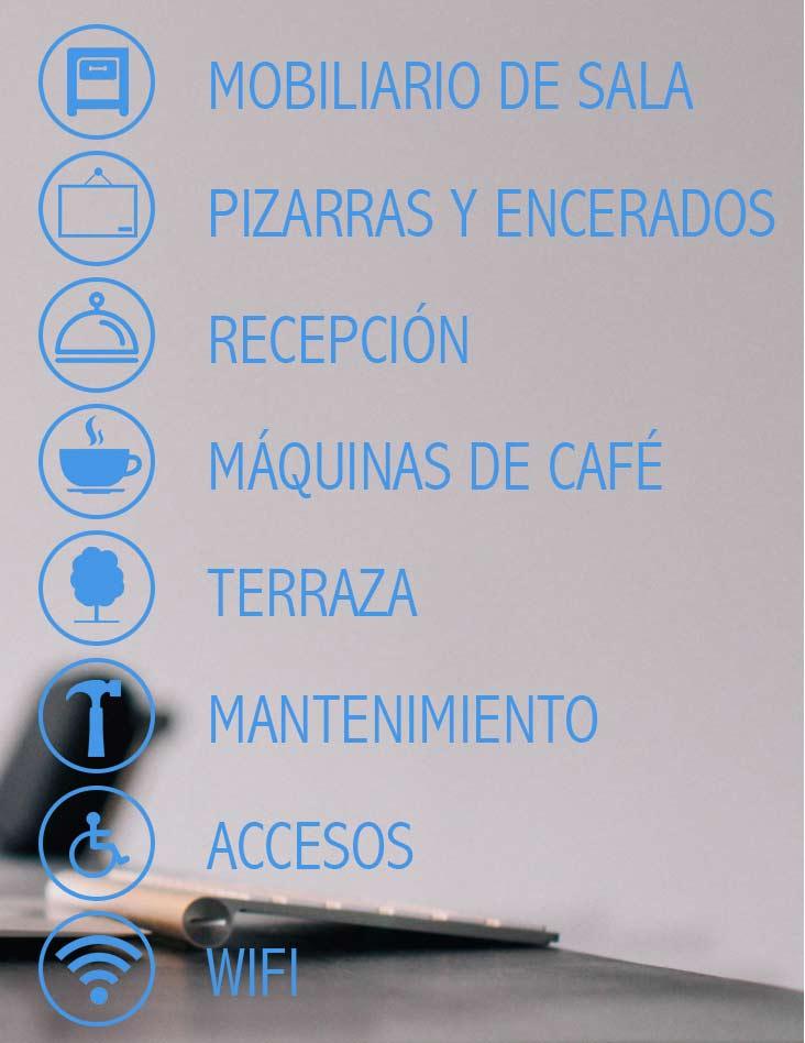 Graficos icónicos sobre servicios de coworking en Collado Villalba.