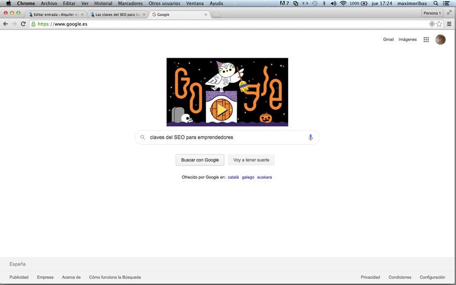 Captura de pantalla del buscador de Google con el texto de búsqueda claves del SEO para los emprendedores