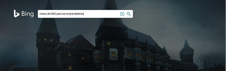 Captura de pantalla del buscador bing con el texto claves del SEO para los emprendedores
